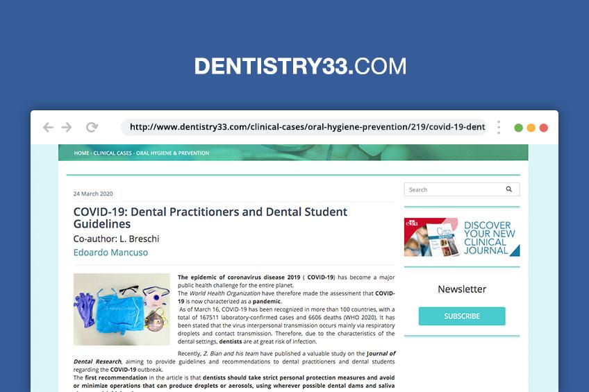 COVID-19: linee guida per dentisti e studenti [Rassegna stampa]