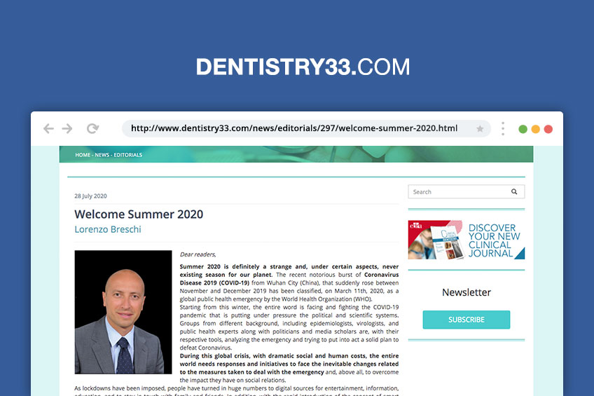 Benvenuta Estate 2020: l'editoriale del Prof. Breschi su Dentistry33